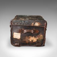 Vintage Overseas Voyage Trunk, English, Leather, Travel Case, Luggage c.1930 (4 of 12)