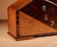 Very Stylish Typical Art Deco Amsterdam School Oak & Macassar Ebony / Coromandel Mantel Clock (5 of 8)
