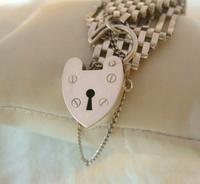 Vintage Sterling Silver Gate Bracelet 1976 St Christopher & Heart Padlock 34.3 Grams (8 of 12)