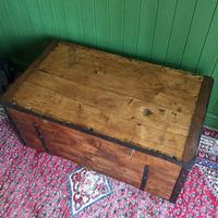 Antique Victorian Bound Campaign Chest Old Rustic Pine Wooden Storage Trunk + Full Zinc Interior + Key (7 of 10)