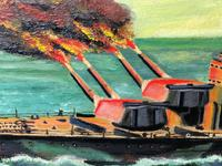 "Large Marine Oil Painting WW2 Sea Battle ""HMS Battleship Hood The Last Moments"" (8 of 8)"
