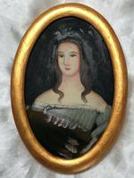 Fine Art Italian School 19th Century Miniature Portrait Countess Noble Lady Oil Painting (10 of 11)