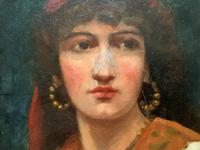 Fine Original 19th Century Antique Portrait Oil Painting of a Stunning Young Gypsy Girl (9 of 11)