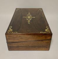 Antique Victorian Rosewood Abalone Mother of Pearl Inlaid Writing Slope Box (10 of 13)