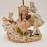 Antique Italian Capodimonte Porcelain Table Lamp (3 of 11)