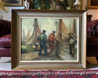 Cornish School - Large early 1900s Oil Painting of Fishermen Pulling in the Nets (2 of 14)