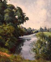 View of the Trent, oil painting by Percy Robinson (4 of 8)