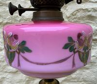 Tall 19thc Art-nouveau Primrose Yellow & Pink Twin Burning Duplex Table Oil Lamp (8 of 12)
