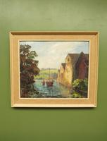 Large Framed Oil Painting of Boats at Totnes by Dorothy Bradshaw (2 of 13)
