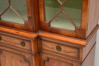 Antique Yew Wood Sheraton Style Breakfront Bookcase (2 of 12)