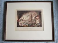 """Aquatint of the """"Burning of Moscow Sept 1812"""" Pub.1815 by James Jenkins in """"Martial Achievements of Great Britain & Her Allies 1799-1815"""" (2 of 6)"""