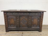 Early 20th Century Carved Oak Coffer or Blanket Box