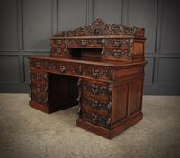 Carved Oak Pedestal Desk (11 of 19)