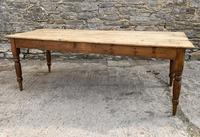Large Antique Pine Farmhouse Table on Turned Legs (10 of 19)