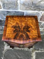 Antique Burr Walnut 3 Drawer Bedside Chest (2 of 8)