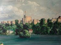 "Fine 20th Century Oil Painting Royal Windsor Castle ""View From The Thames"" (5 of 12)"