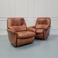 Pair of Vintage French Leather Guermonprez Armchairs c.1970