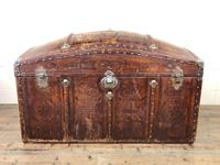 Large Leather Bound Dome Top Trunk (2 of 15)