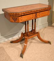 George III Satinwood, Rosewood & Ebony Inlaid Card Table (4 of 10)