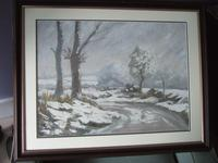 Winter Landscape - Oil on Board - Unsigned