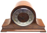Walnut Hat-Shaped English  8-Day Mantel Clock with Silver & Walnut Dial (2 of 8)