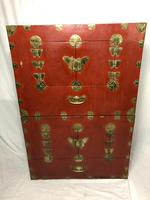 Pair of Late Qing Antique Chinese Dowry Marriage Wedding Brass Bound Red Lacquer Chests (6 of 54)