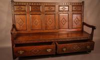 Georgian Oak Settle with Storage Drawers (6 of 10)