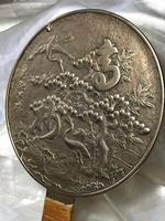 Antique 19th Century Japanese Hand Held Dragon Bronze Mirror (3 of 11)