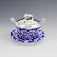 Early Victorian Blue & White Overlay Glass Butter Dish Silver Cow Cover