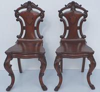 19th Century Irish Mahogany Pair of Hall Chairs Attributed to Strahan (3 of 5)