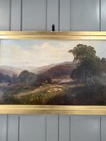 Antique Signed Victorian Landscape Oil Painting of Flock of Sheep (3 of 10)