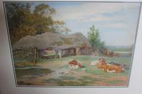Antique Original Watercolour - Cows Resting - Charles James Adams c.1900 (3 of 9)