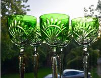 5 Green Hock Glasses Bohemian 1960 (5 of 5)