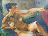 20th Century British School Reclining Nude Female Portrait - Watercolour & Body Wash (8 of 12)