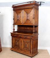 Large German Carved Walnut Bookcase Cabinet 19th Century (5 of 14)