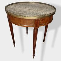 French Walnut & Brass Inlaid Bouillotte Table