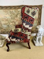 Kilim Covered Wingback Armchair on Ball & Claw Feet (5 of 9)