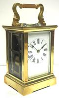 Good Antique French 8-day Carriage Clock Bevelled Case Large Dial & Carry Handle (3 of 13)