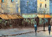 Fine Large Original Vintage Parisian Street Cityscape Impressionist Oil Painting (4 of 11)
