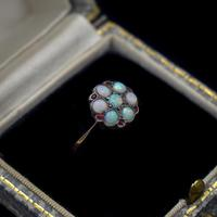 Antique Natural Opal & Red Paste Flower Cluster 9ct 9K Gold Ring (2 of 9)