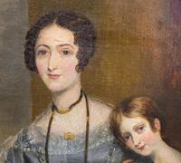 Victorian Oil on Canvas Mother & Daughter Portrait (3 of 10)