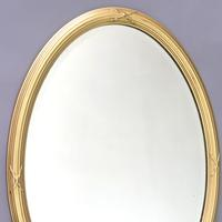 Late 19th Century Gilt Oval Bevelled Mirror with Reeded Frame c.1895 (4 of 7)