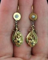 Antique Georgian Gold Drop Earrings, Ruby, Floral, 18ct (10 of 11)