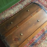 Antique Steamer Trunk Victorian Dome Top Chest Old Rustic Pine Blanket Box + Key (5 of 10)