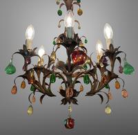 Murano Glass a Fruit Venetian 6 Arm Toleware Ceiling Light Chandelier (3 of 9)