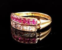 Antique Victorian Ruby, Diamond and Pearl Ring, Double Row, 15ct Gold (4 of 12)