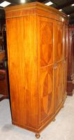 1900s Large 3 Door Satin Walnut Combination Wardrobe (5 of 7)