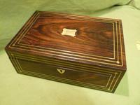 Inlaid Unisex Rosewood Jewellery Box + Tray. c1835 (2 of 12)