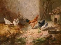 """Oil Painting by Louis Marie Lemaire """"Chickens in a Farmyard"""" (7 of 9)"""