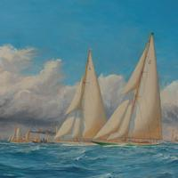 A rare painting of 1930 America's Cup racing off Newport, signed 'Harold Wyllie' (2 of 12)